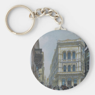 The banking and stock exchange building basic round button key ring