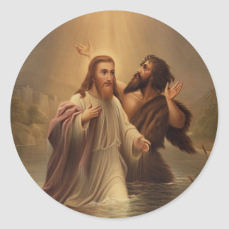 The Baptism of Christ by James Fuller Queen 1873 Round Sticker