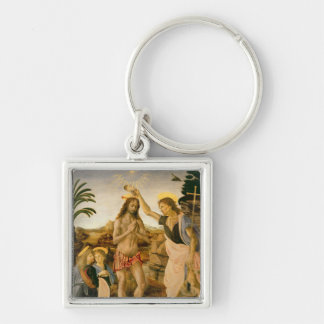 The Baptism of Christ by John the Baptist Silver-Colored Square Key Ring