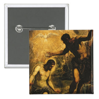 The Baptism of Christ (oil on canvas) 15 Cm Square Badge