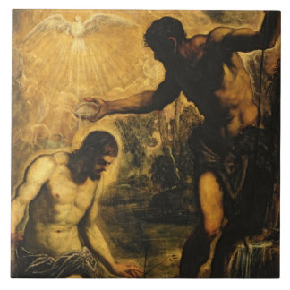 The Baptism of Christ (oil on canvas) Large Square Tile