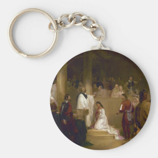The Baptism of Pocahontas by John Gadsby Chapman Basic Round Button Key Ring