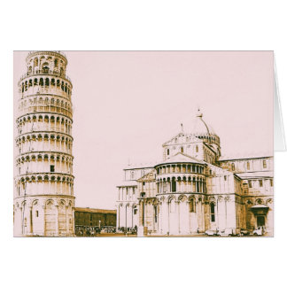 The Baptistry of St John and Leaning Tower Of Pisa Card