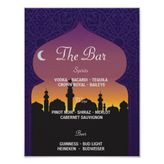 The Bar Arabian Party Sign Wedding Reception Poster