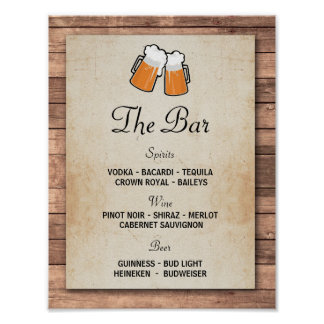 The Bar Cheers Beers Event Sign Wedding Reception Poster