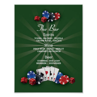 The Bar Event Sign Casino Vegas Reception Poster