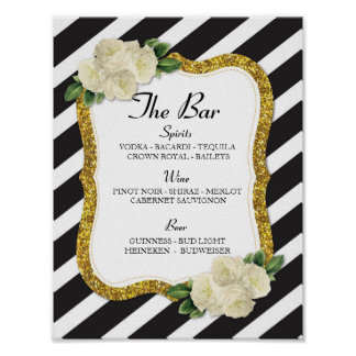 The Bar Event Sign Stripe Gold Wedding Reception Poster