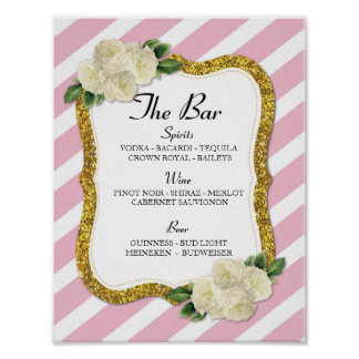 The Bar Event Sign Stripe Pink Wedding Reception