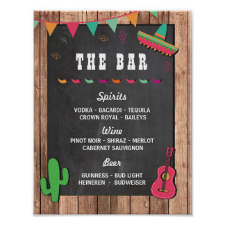 The Bar Fiesta Party Event Sign Engagement Shower Poster