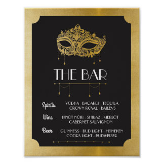 The Bar Masquerade Poster Sign Wedding Reception