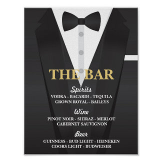 The Bar Suit Tuxedo Poster Sign Wedding Reception