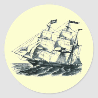 "The Bark ""Florida"" Sailing Ship Bookmark Round Sticker"