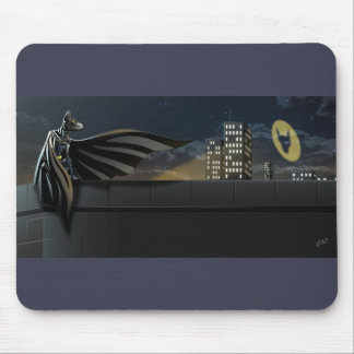 """The Bark Knight"" Superhero Pun Illustration Mouse Pad"