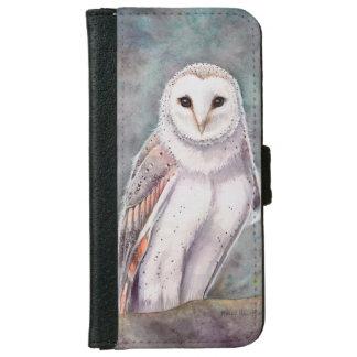 The Barn Owl Wildlife Watercolor Art iPhone 6 Wallet Case