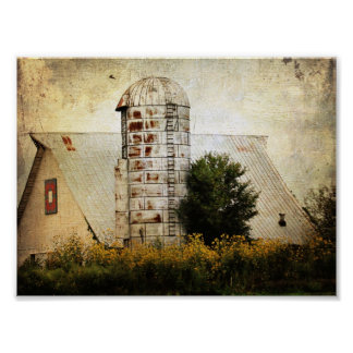 The Barn Quilt, Silo, and Sunflowers Poster