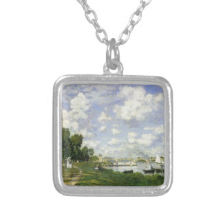 The Basin at Argenteuil - Claude Monet Silver Plated Necklace