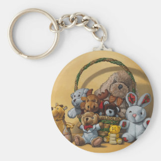 The basket of cuddly toys basic round button key ring