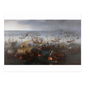 The Battle with the Spanish Armada by Hendrick Postcard