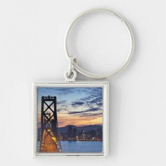 The Bay Bridge from Treasure Island Silver-Colored Square Key Ring
