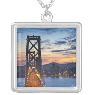 The Bay Bridge from Treasure Island Square Pendant Necklace