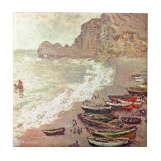 The Beach at Etretat - Claude Monet Ceramic Tile