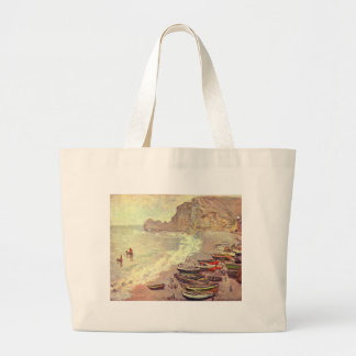 The Beach at Etretat - Claude Monet Large Tote Bag