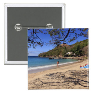 The beach at Pigeon Island National Park 15 Cm Square Badge