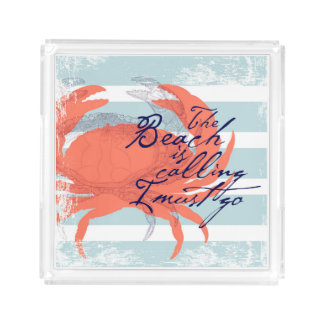 The Beach is Calling I Must Go Acrylic Tray
