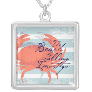 The Beach is Calling I Must Go Silver Plated Necklace