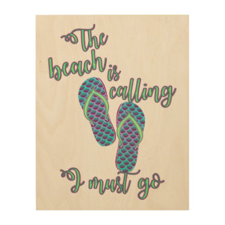 The Beach Is Calling With Mermaid Flip Flops Wood Canvas
