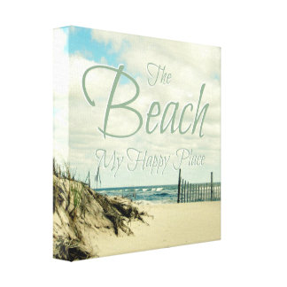 THE BEACH MY HAPPY PLACE PHOTO WORD ART CANVAS PRINT