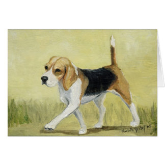 """The Beagle Strut"" Dog Art Greeting Card"