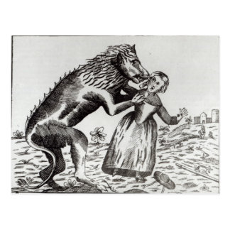 The Beast of Gevaudan Attacking a Young Girl Postcard