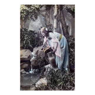 The Beautiful Maiden Romantic French 1906 Vintage Poster