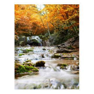 The beautiful waterfall in forest, autumn postcard