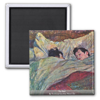 The Bed,  By Toulouse-Lautrec Henri Square Magnet