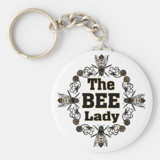 the bee lady basic round button key ring