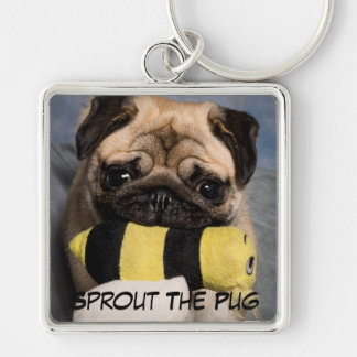 The Bee Toy Silver-Colored Square Key Ring