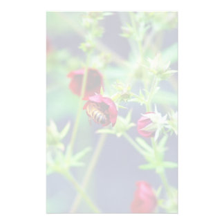 The Bee With the Red Flower Customized Stationery