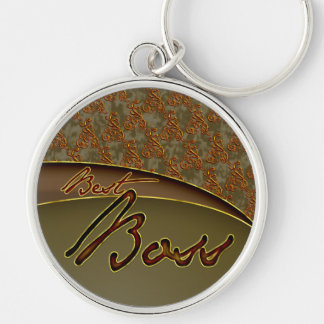 The best boss golden brown design Silver-Colored round key ring