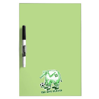 the best soccer player elephant cartoon green dry erase board