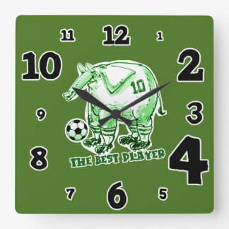 the best soccer player elephant cartoon green square wall clock