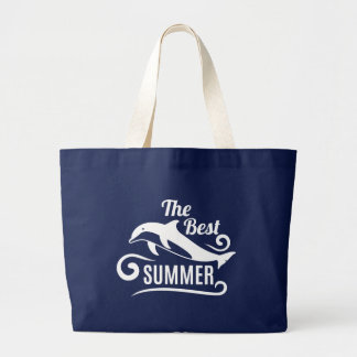The Best Summer. Dolphin. Large Tote Bag