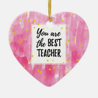 The Best Teacher - Pink Yellow Star Watercolor Ceramic Heart Decoration