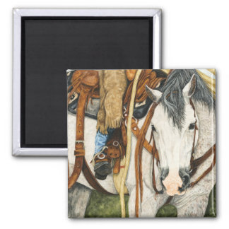 The Better Half - Western Horse & Rider Square Magnet