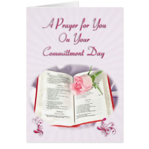 The Bible and rose prayer for a Committment Day Greeting Card