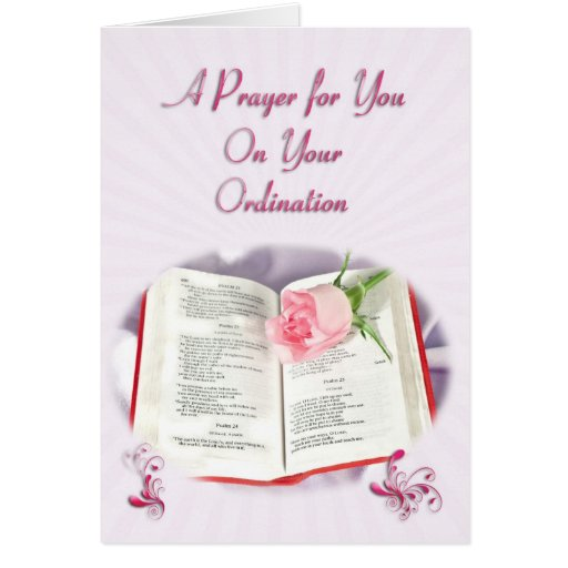 The Bible and rose prayer for Ordination Greeting Cards
