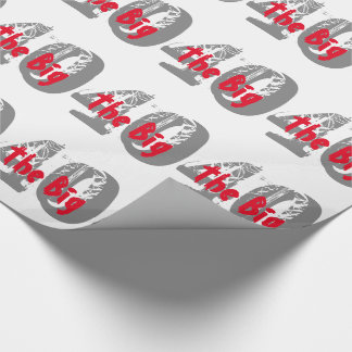 The big 40, Birthday, gray, red text on black. Wrapping Paper