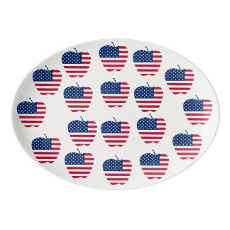 The Big Apple America flag NYC Porcelain Serving Platter