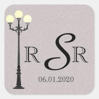 The Big Easy Wedding Monogram Square Sticker
